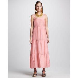 Eileen Fisher Pink Silk Tiered Maxi Sundress